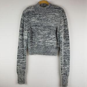 Express Black & White Marled Fuzzy Sweater NWOT